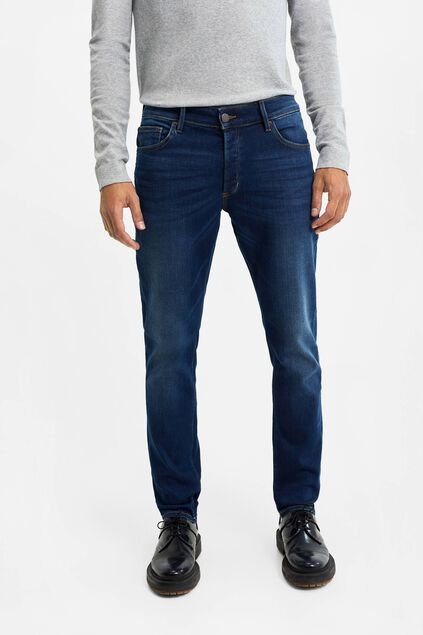 Heren slim tapered jeans met stretch Donkerblauw