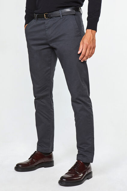 Heren effen slim tapered chino Donkergrijs
