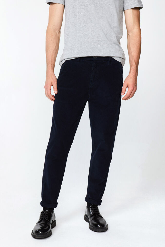 Heren loose fit corduroy chino Donkerblauw