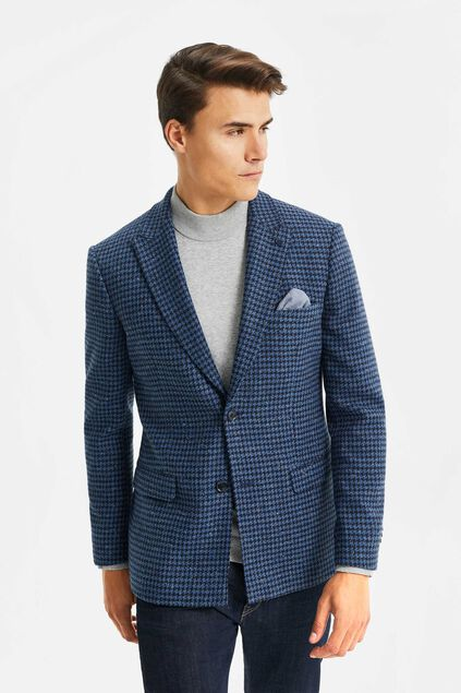 Heren slim fit blazer met structuur All-over print