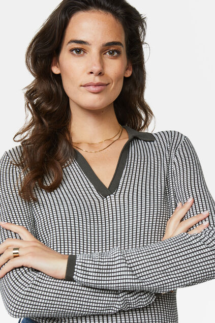 Dames fijngebreide polotop All-over print