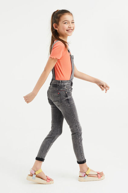 Salopette denim super skinny fille Gris clair