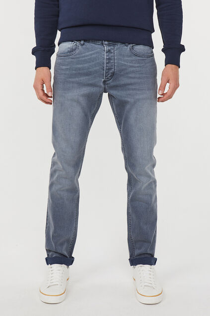 Heren Slim tapered comfort stretch jeans Grijsblauw