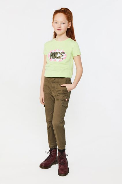 Pantalon cargo girlfriend fit fille Vert armee