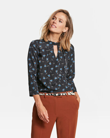 DAMES CUT OUT PRINT TOP Zwart