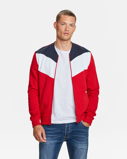 HEREN COLOUR BLOCK BOMBER SWEATVEST Felrood