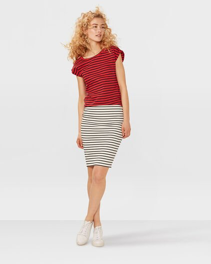 DAMES PENCIL STRIPE KOKERROK Gebroken wit