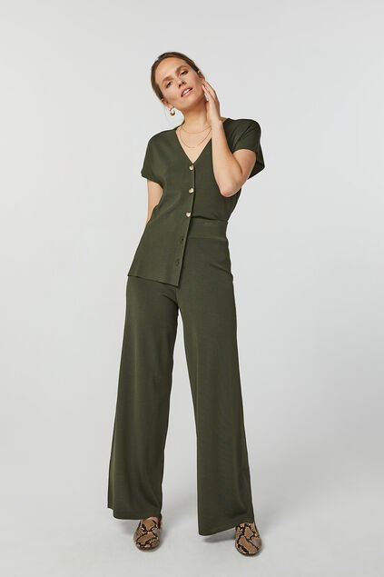 Dames loose fit gebreide pantalon Legergroen