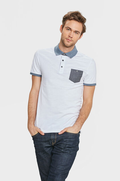 HEREN CONTRAST PIQUÉ POLO Wit