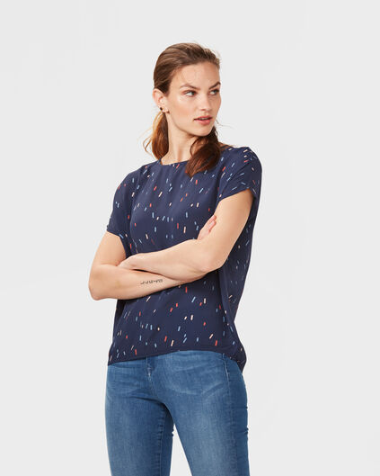 DAMES PRINTED TOP Donkerblauw