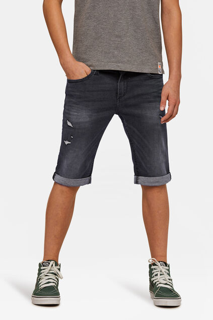 Short jog denim slim fit garçon Noir