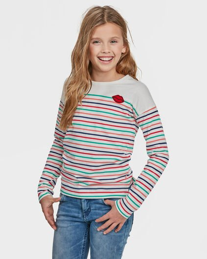 T-SHIRT STRIPED DESSIN FILLE Blanc