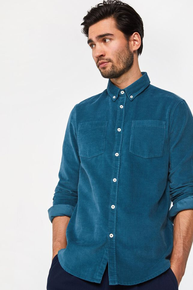 Heren regular fit overhemd van corduroy Blauw