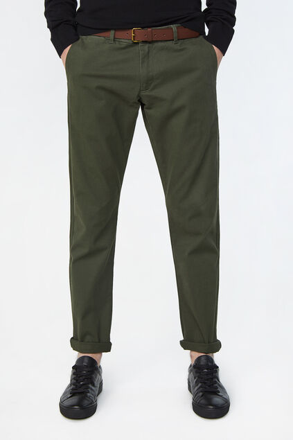Heren effen slim tapered chino Legergroen