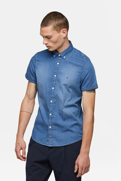 Heren Denim overhemd Marineblauw