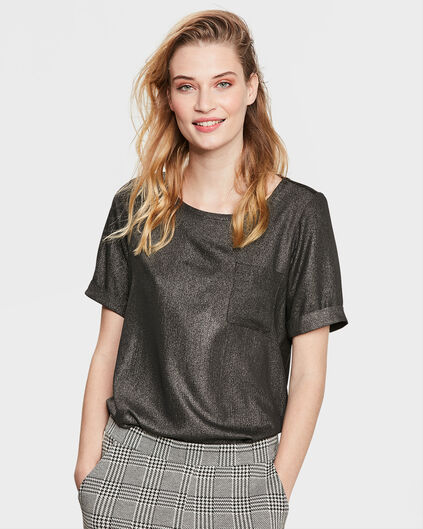 DAMES SHINY FRONT TOP Zwart