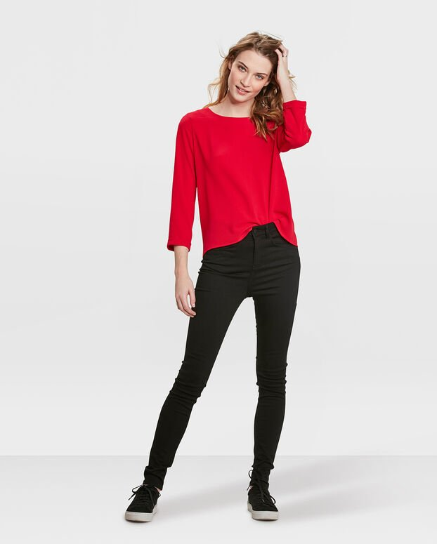 DAMES SOLID BLOUSE Rood