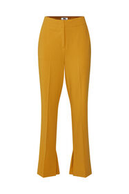 Dames wide leg pantalon met high waist_Dames wide leg pantalon met high waist, Mosterdgeel