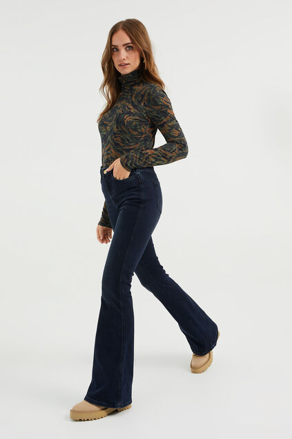 Dames high rise flared jeans Donkerblauw