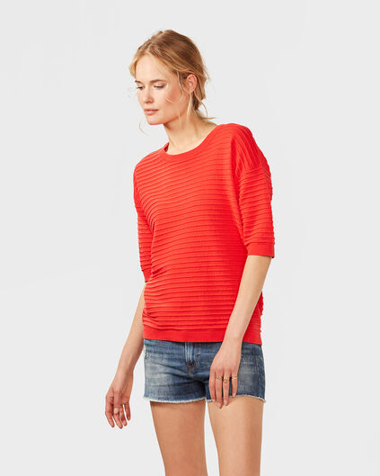 DAMES BOXY FIT RIB TOP Rood