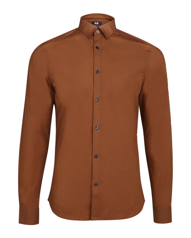 CHEMISE STRETCH HOMME Brun