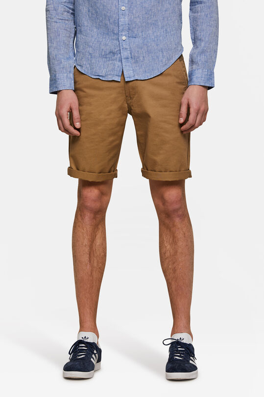 Heren regular fit chino short Kaneelbruin