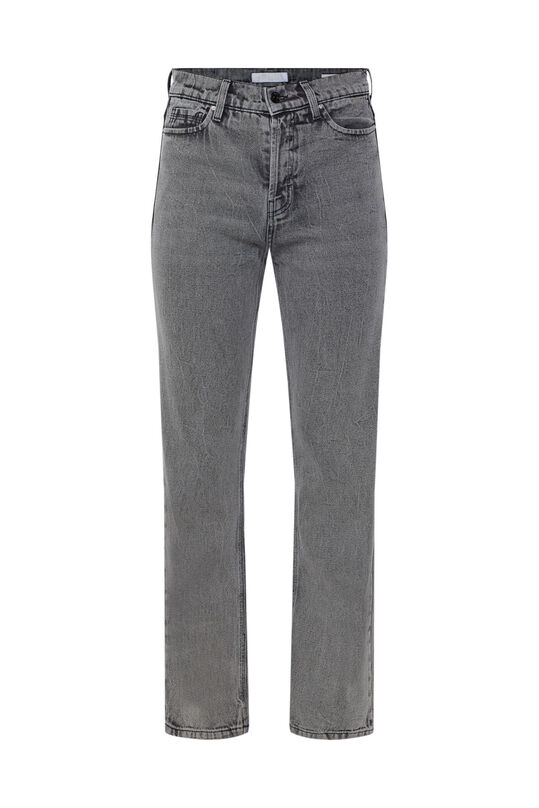 Dames straight leg jeans met high rise Grijs