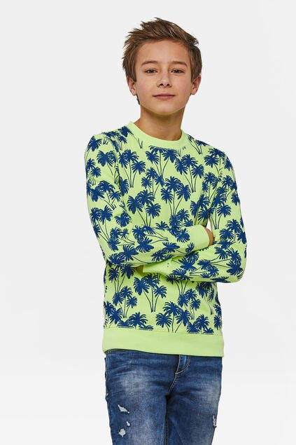 Jongens California print sweater Geel