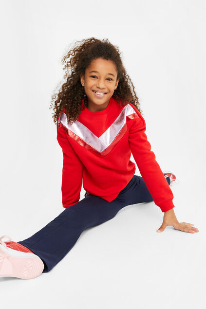 Meisjes sweater met metallic colourblocking Rood