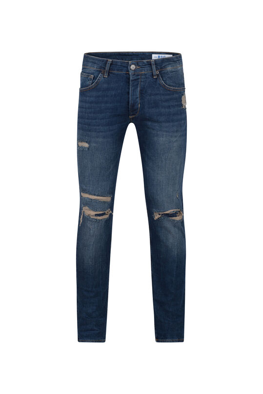 Heren skinny tapered comfort stretch jeans Blauw