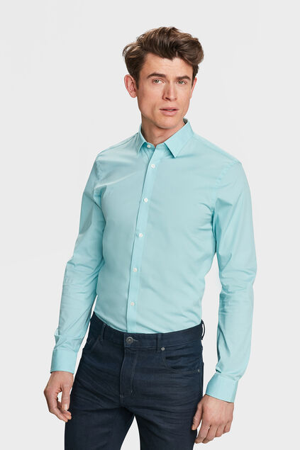 Heren slim fit stretch overhemd Mintgroen