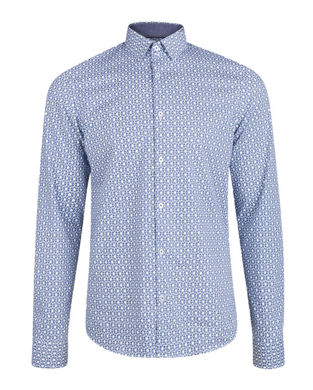 CHEMISE SLIM FIT STRETCH GRAPHIC PRINT HOMME Bleu marine