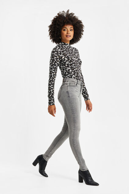 Dames mid rise super skinny jeans met super stretch Grijs