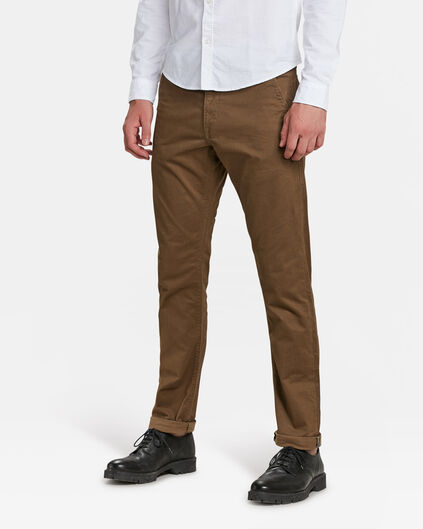 CHINO SLIM TAPERED HOMME Brun Cannelle
