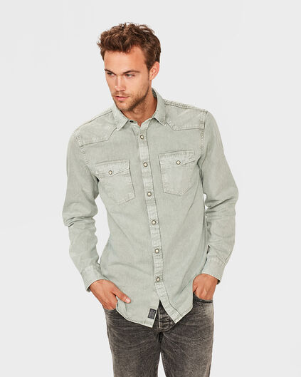 HEREN RELAXED FIT DENIM OVERHEMD Lichtgroen