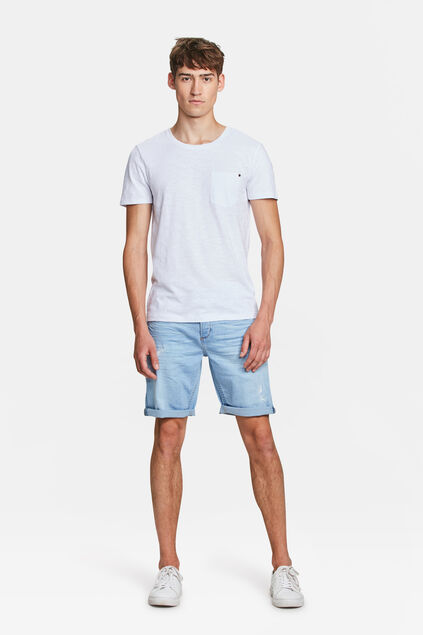 SHORT DENIM COUPE RÉGULIERE DROIT RIP EN REPAIR Bleu