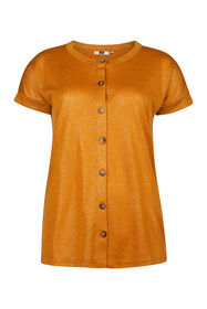 Dames knoopdetail top_Dames knoopdetail top, Mosterdgeel