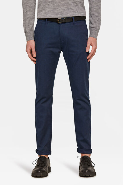 Heren Skinny Fit gemeleerde chino Marineblauw
