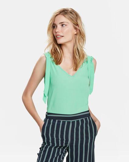 DAMES STRIK DETAIL TOP Groen