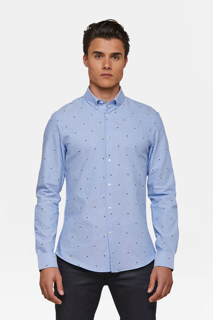 Heren slim fit dessin oxford overhemd Lichtblauw