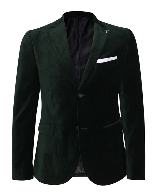 HEREN SKINNY FIT VELVET SMOKING BLAZER Donkergroen