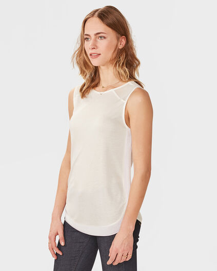 DAMES SLEEVELESS CONTRAST TOP Wit