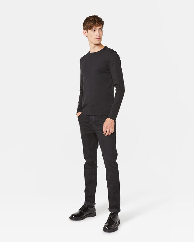 HEREN R-NECK SHIRT Zwart