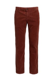 Heren slim fit chino van corduroy_Heren slim fit chino van corduroy, Roestbruin