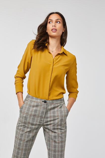 Chemisier slim fit femme Jaune moutarde