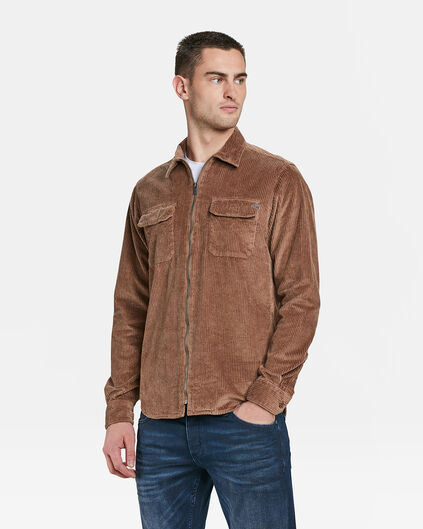 HEREN SLIM FIT BLUE RIDGE CORDUROY OVERHEMD Bruin