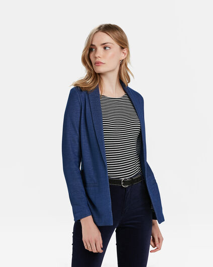 DAMES REGULAR FIT MELANGE BLAZER Kobaltblauw