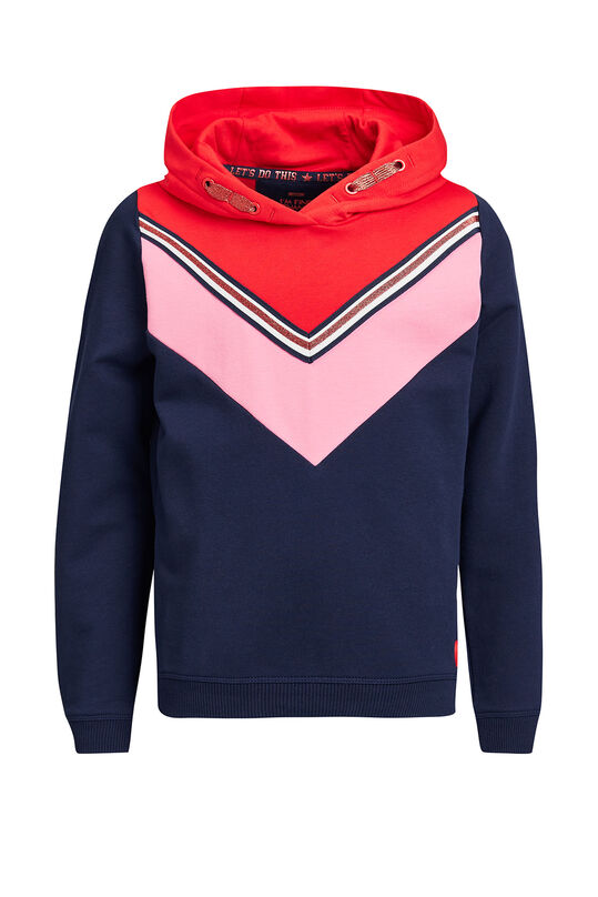 Meisjes capuchonsweater met colourblocking Multikleur