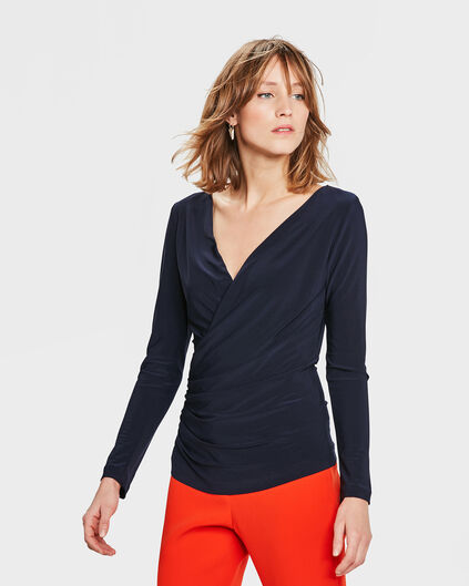 DAMES SOLID WRAP TOP Donkerblauw