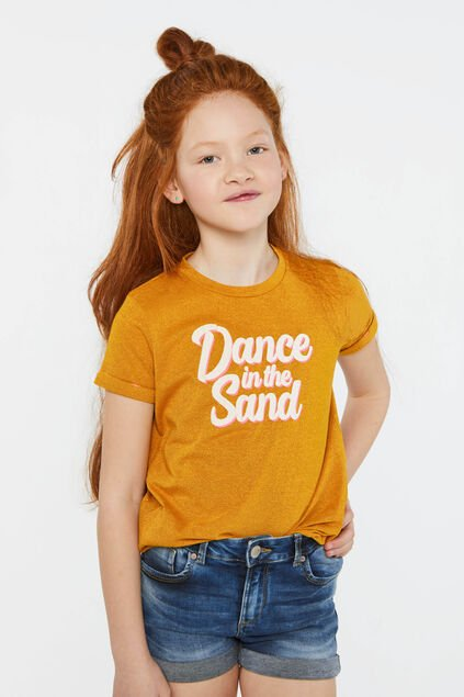 T-shirt pailleté à texte appliqué fille Jaune moutarde